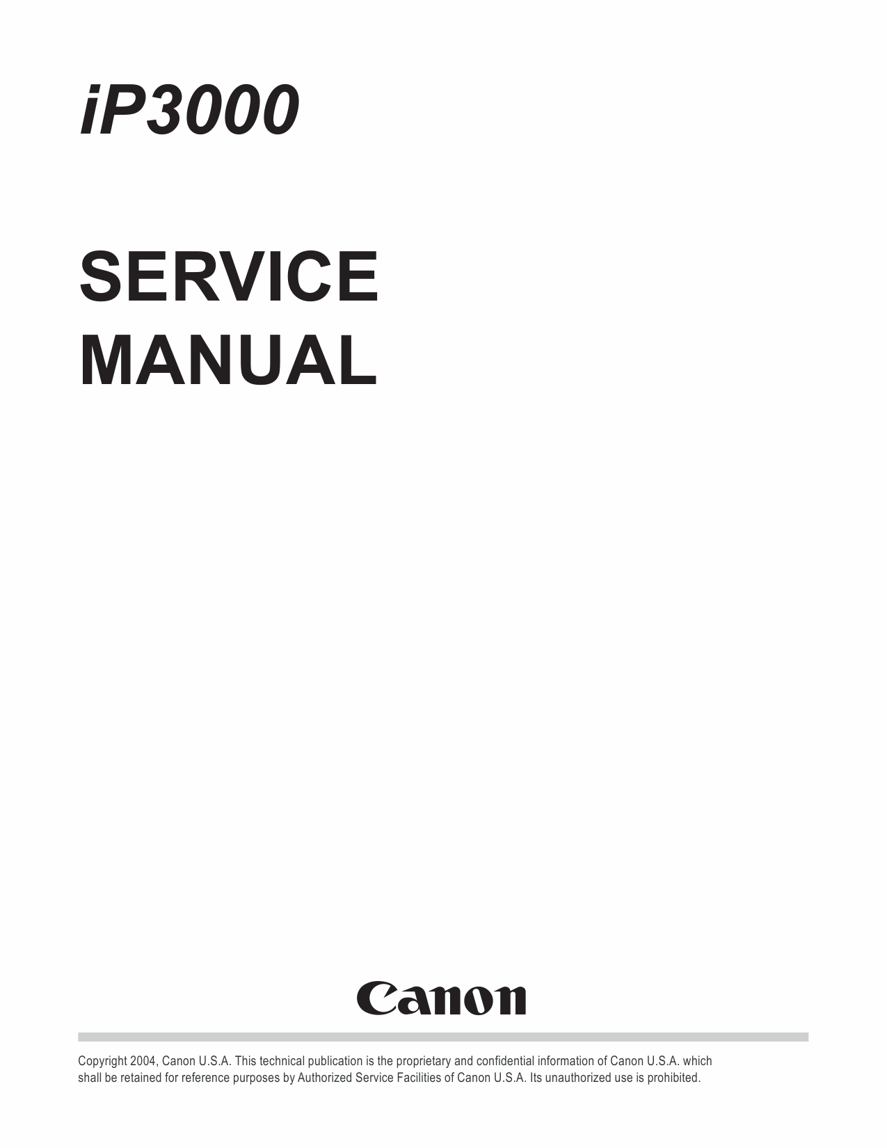 Canon PIXMA iP3000 Service Manual